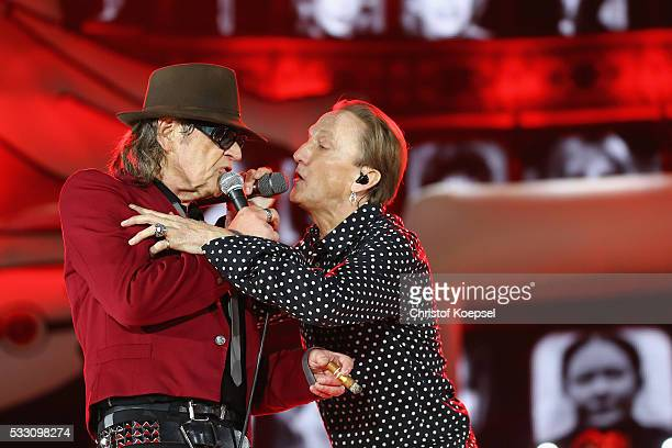 Singer Udo Lindenberg and singer Marius Mueller Westernhagen perform live during the opening night of the 'Keine Panik' tour at VeltinsArena on May...