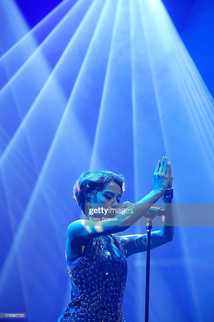 Singer Una performs during the JE live house 'TOYOTA x STUDIO4AC meets ANA PES' concert during the Japan Expo at Paris-nord Villepinte Exhibition Center on July 6, 2013 in Paris, France.