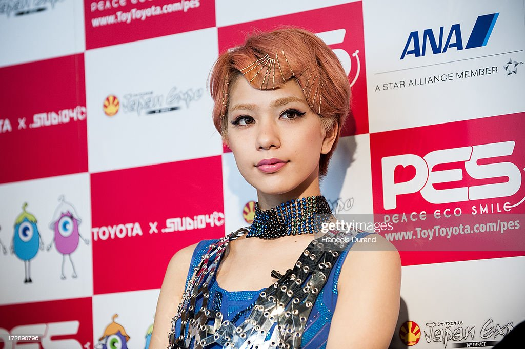 Singer Una poses at the 'TOYOTA x STUDIO4AC meets ANA PES' press conference during the Japan Expo at Paris-nord Villepinte Exhibition Center on July 5, 2013 in Paris, France.