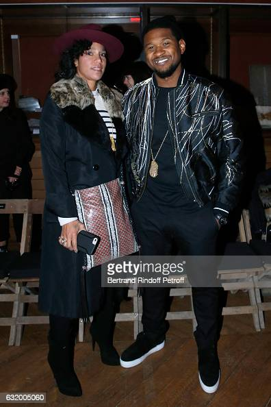 Singer Usher and his wife Grace Miguel attend the Haider Ackermann Menswear Fall/Winter 20172018 show as part of Paris Fashion Week Held at Galerie...