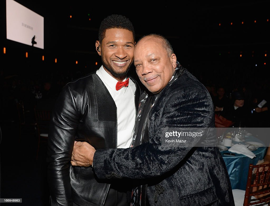 Singer Usher (L) and inductee <a gi-track='captionPersonalityLinkClicked' href=/galleries/search?phrase=Quincy+Jones&family=editorial&specificpeople=171797 ng-click='$event.stopPropagation()'>Quincy Jones</a> attend the 28th Annual Rock and Roll Hall of Fame Induction Ceremony at Nokia Theatre L.A. Live on April 18, 2013 in Los Angeles, California.