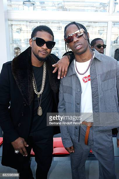 Singer Usher and Rapper Travis Sccott attend the Louis Vuitton Menswear Fall/Winter 20172018 show as part of Paris Fashion Week Held at Palais Royal...