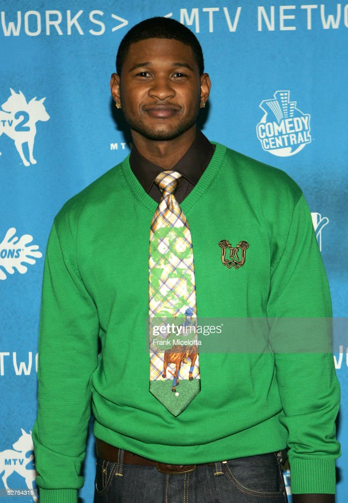 Singer <a gi-track='captionPersonalityLinkClicked' href=/galleries/search?phrase=Usher+-+Singer&family=editorial&specificpeople=201477 ng-click='$event.stopPropagation()'>Usher</a> attends the MTV Networks Upfront at the Paramount Theater May 3, 2005 In New York City.