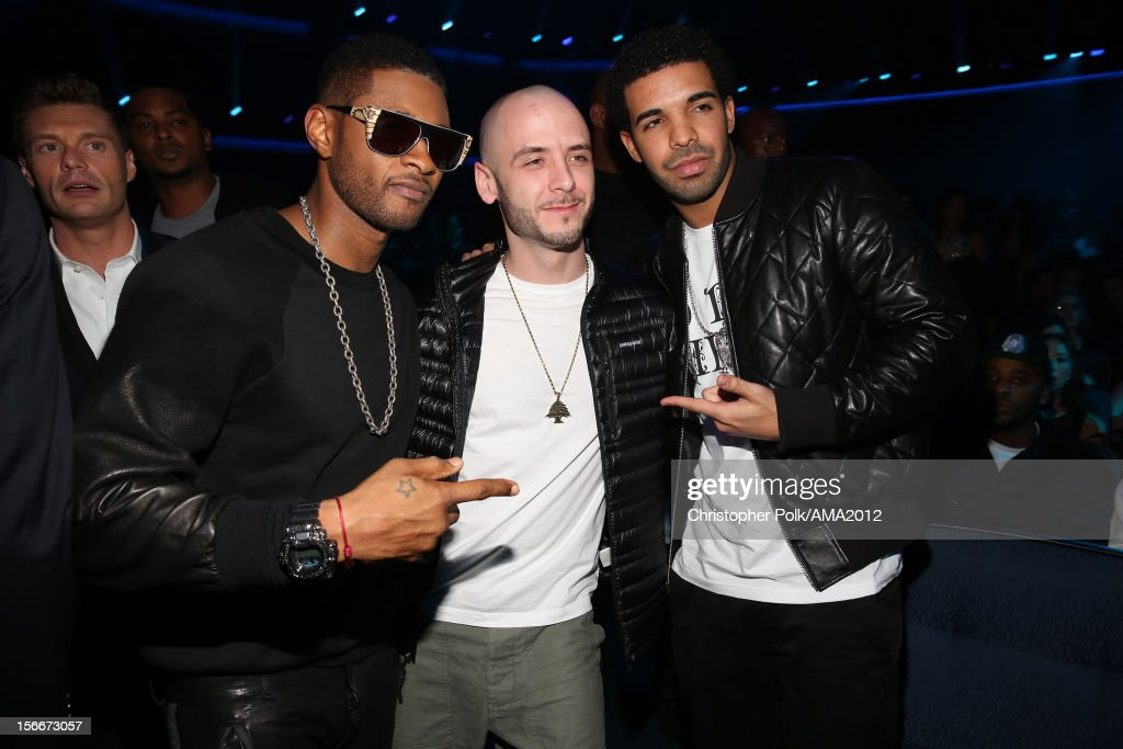 Singer Usher, music producer Noah '40' Shebib, and rapper <a gi-track='captionPersonalityLinkClicked' href=/galleries/search?phrase=Drake+-+Artista&family=editorial&specificpeople=6927008 ng-click='$event.stopPropagation()'>Drake</a> at the 40th American Music Awards held at Nokia Theatre L.A. Live on November 18, 2012 in Los Angeles, California.