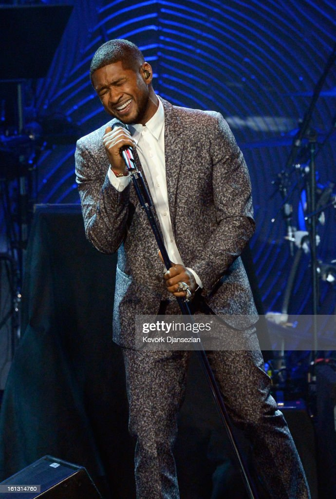 Singer <a gi-track='captionPersonalityLinkClicked' href=/galleries/search?phrase=Usher+-+Singer&family=editorial&specificpeople=201477 ng-click='$event.stopPropagation()'>Usher</a> onstage at Clive Davis & The Recording Academy's 2013 Pre-GRAMMY Gala and Salute to Industry Icons honoring Antonio 'L.A.' Reid at The Beverly Hilton Hotel on February 9, 2013 in Beverly Hills, California.