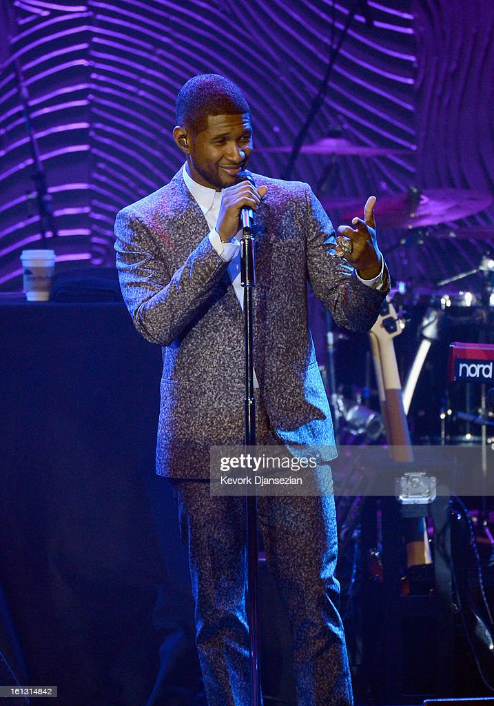 Singer Usher onstage at Clive Davis & The Recording Academy's 2013 Pre-GRAMMY Gala and Salute to Industry Icons honoring Antonio 'L.A.' Reid at The Beverly Hilton Hotel on February 9, 2013 in Beverly Hills, California.