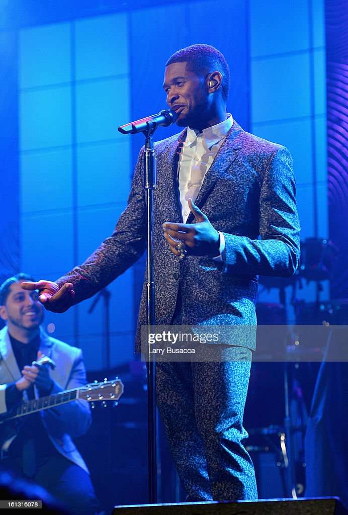 Singer Usher onstage at the 55th Annual GRAMMY Awards Pre-GRAMMY Gala and Salute to Industry Icons honoring L.A. Reid held at The Beverly Hilton on February 9, 2013 in Los Angeles, California.