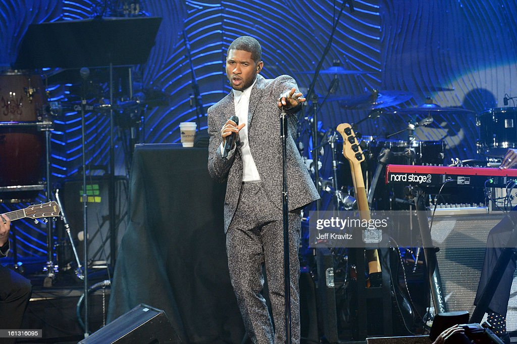 Singer Usher performs onstage at Clive Davis and The Recording Academy's 2013 GRAMMY Salute to Industry Icons Gala held at The Beverly Hilton Hotel on February 9, 2013 in Beverly Hills, California.
