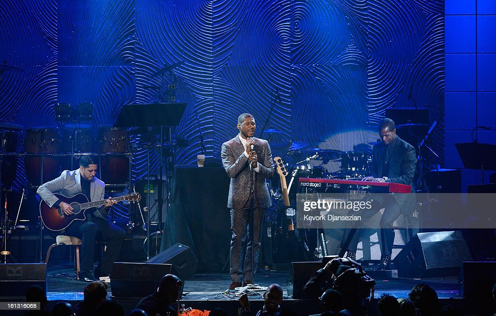 Singer Usher performs onstage at Clive Davis & The Recording Academy's 2013 Pre-GRAMMY Gala and Salute to Industry Icons honoring Antonio 'L.A.' Reid at The Beverly Hilton Hotel on February 9, 2013 in Beverly Hills, California.