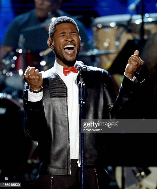 Singer Usher performs onstage at the 28th Annual Rock and Roll Hall of Fame Induction Ceremony at Nokia Theatre LA Live on April 18 2013 in Los...