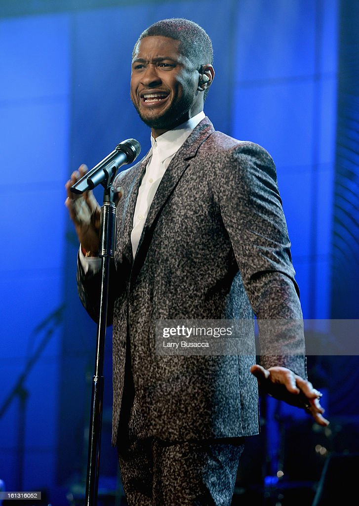 Singer <a gi-track='captionPersonalityLinkClicked' href=/galleries/search?phrase=Usher+-+Singer&family=editorial&specificpeople=201477 ng-click='$event.stopPropagation()'>Usher</a> performs onstage at the 55th Annual GRAMMY Awards Pre-GRAMMY Gala and Salute to Industry Icons honoring L.A. Reid held at The Beverly Hilton on February 9, 2013 in Los Angeles, California.