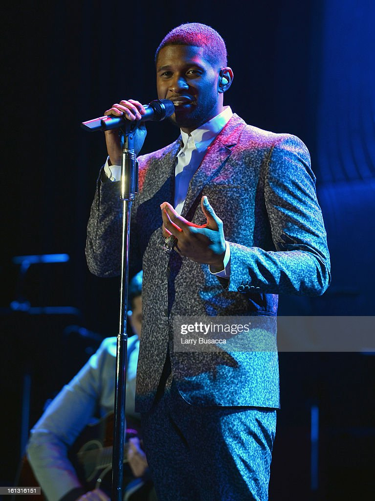 Singer Usher performs onstage at the 55th Annual GRAMMY Awards Pre-GRAMMY Gala and Salute to Industry Icons honoring L.A. Reid held at The Beverly Hilton on February 9, 2013 in Los Angeles, California.