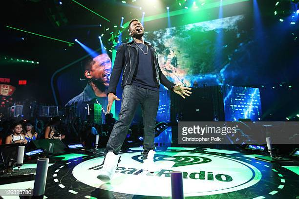 Singer Usher performs onstage at the iHeartRadio Music Festival held at the MGM Grand Garden Arena on September 24 2011 in Las Vegas Nevada