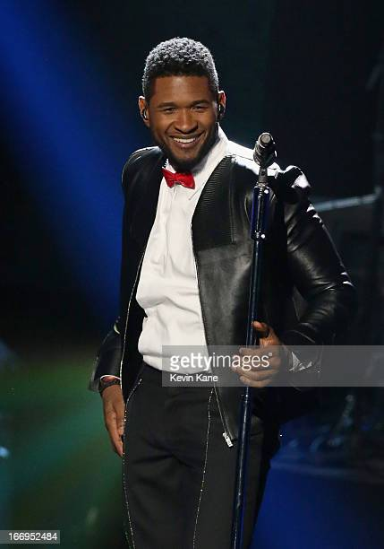 Singer Usher performs onstage during the 28th Annual Rock and Roll Hall of Fame Induction Ceremony at Nokia Theatre LA Live on April 18 2013 in Los...