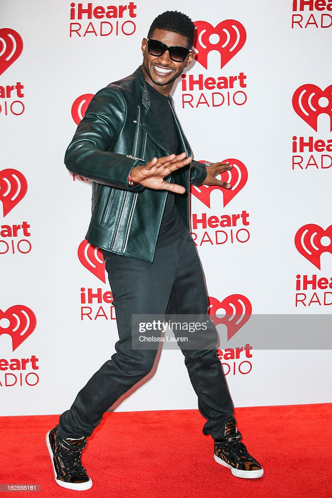 Singer <a gi-track='captionPersonalityLinkClicked' href=/galleries/search?phrase=Usher+-+Singer&family=editorial&specificpeople=201477 ng-click='$event.stopPropagation()'>Usher</a> Raymond arrives at iHeartRadio Music Festival press room at MGM Grand Garden Arena on September 21, 2012 in Las Vegas, Nevada.