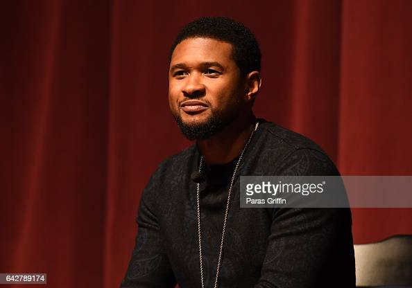 Singer Usher Raymond onstage at Morehouse College 150th Anniversary 'Reflections of Excellence' at Ray Charles Performing Arts Center at Morehouse...