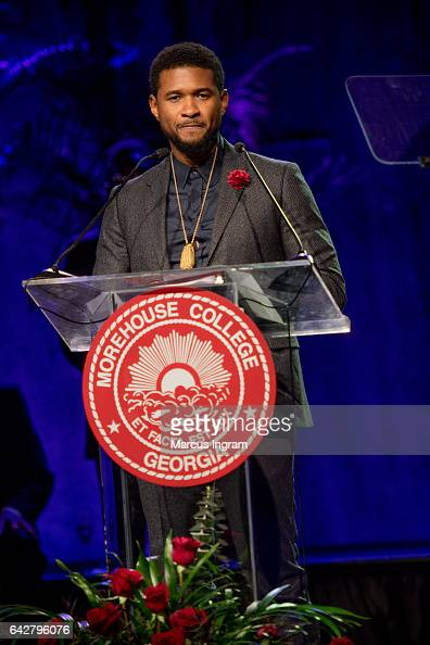 Singer Usher Raymond speaks on stage as he receives the Candle Award in Philanthropy Arts and Entertainment during the Morehouse College 29th annual...