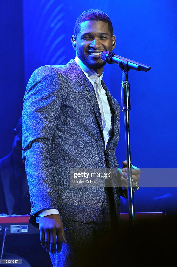 Singer Usher speaks onstage at the 55th Annual GRAMMY Awards Pre-GRAMMY Gala and Salute to Industry Icons honoring L.A. Reid held at The Beverly Hilton on February 9, 2013 in Los Angeles, California.