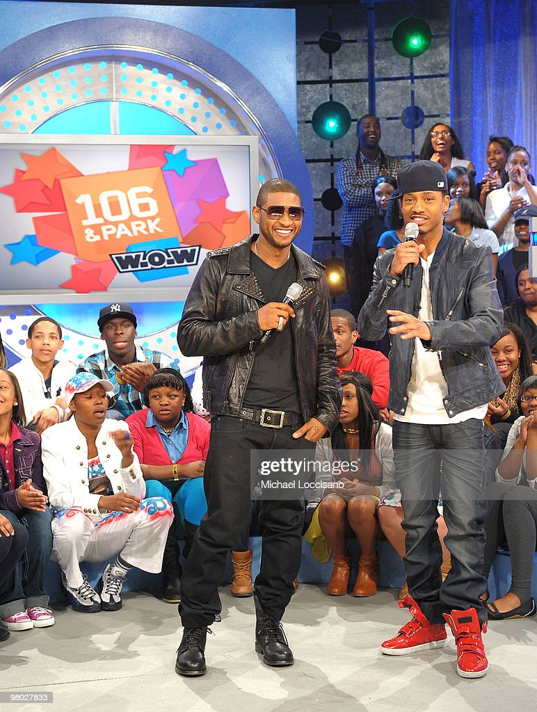 Singer Usher talks with BET VJ Terrence J on BET's '106 & Park' at BET Studios on March 24, 2010 in New York City.