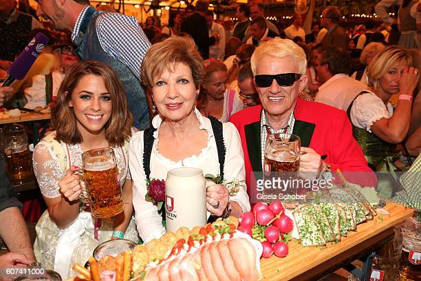 Singer Vanessa Mai Carolin Reiber and Heino during the opening of the oktoberfest 2016 at the Schottenhamel beer tent at Theresienwiese on September...