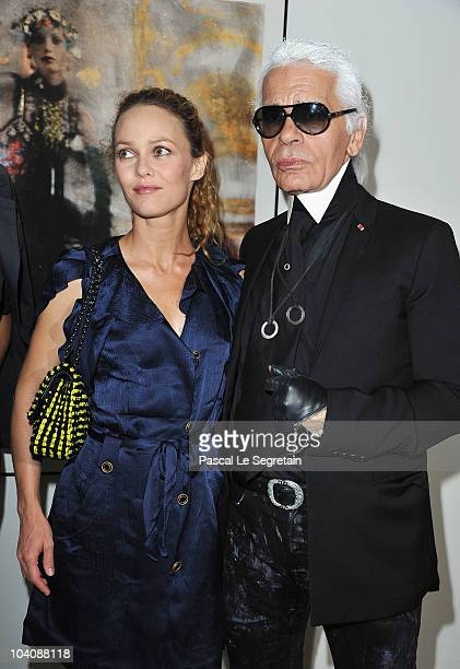 Singer Vanessa Paradis and Designer Karl Lagerfeld attend the Karl Lagerfeld Exhibition launch at Maison Europeenne de la Photographie on September...