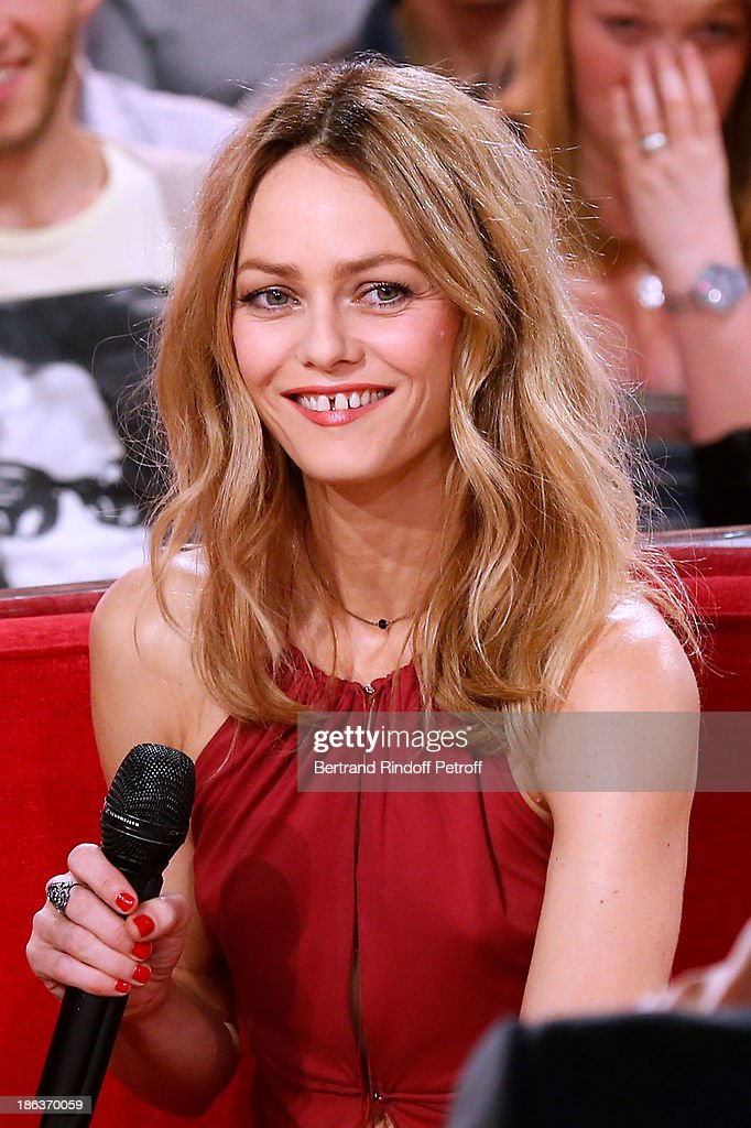 Singer <a gi-track='captionPersonalityLinkClicked' href=/galleries/search?phrase=Vanessa+Paradis&family=editorial&specificpeople=206631 ng-click='$event.stopPropagation()'>Vanessa Paradis</a> appear on 'Vivement Dimanche' TV show at Pavillon Gabriel on October 30, 2013 in Paris, France.