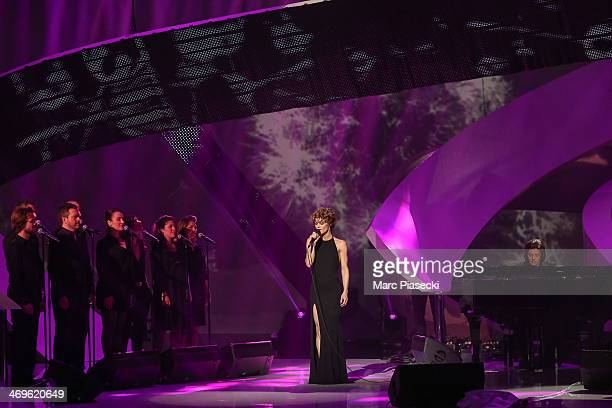 Singer Vanessa Paradis performs during the 'Les Victoires de la musique 2014' ceremony at Le Zenith on February 14 2014 in Paris France