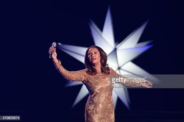 Singer Vanessa William performs during bthe closing ceremony of the 5th Beijing International Film Festival at Beijing Yanqi Lake International...