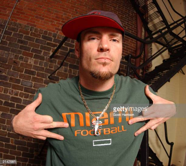 Singer Vanilla Ice poses on May 17 2003 on a rooftop in Bloomington Illinois