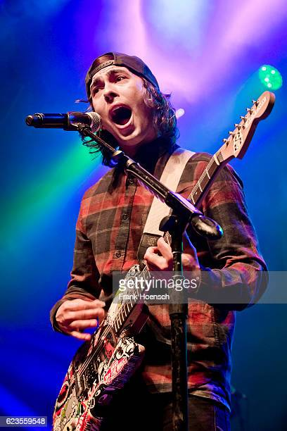 Singer Vic Fuentes of the american band Pierce the Veil performs live during a concert at the Huxleys on November 11 2016 in Berlin Germany