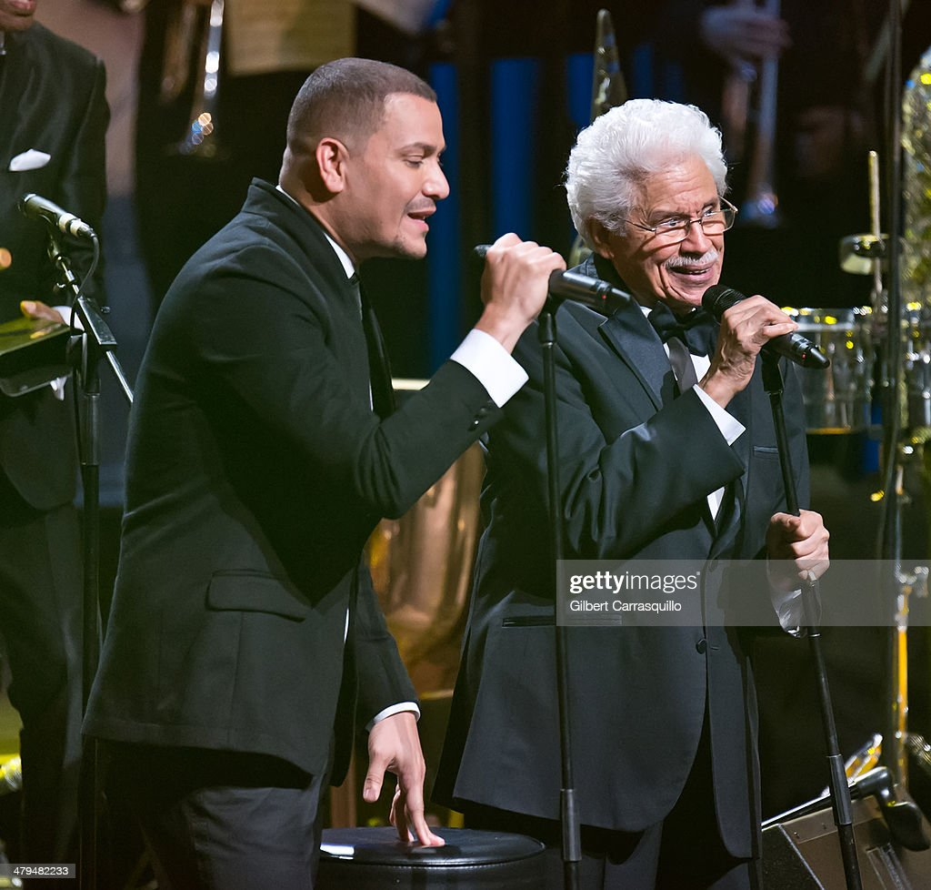 Singer Victor Manuelle and creator of the Fania All-Stars Johnny Pacheco perform on stage at the 22nd annual ASCAP Latin Music Awards at Hammerstein Ballroom on March 18, 2014 in New York City.