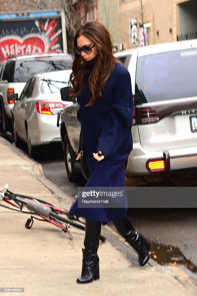 Singer Victoria Beckham is seen walking in Soho on February 9, 2016 in New York City.