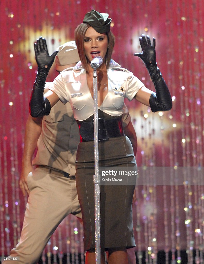 Singer Victoria Beckham performs during the 12th Annual Victoria's Secret Fashion Show at the Kodak Theater on November 15 2007 in Los Angeles