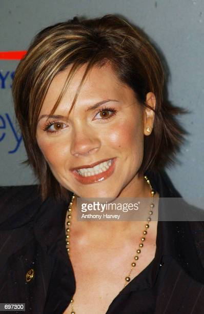 Singer Victoria Beckham poses at the Great Ormond Street Hospital February 13 2002 in London The hospital celebrated its 150th birthday and is...
