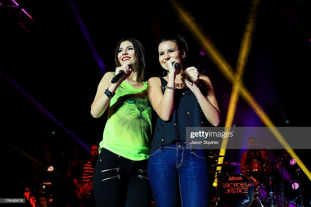 Singer Victoria Justice and her sister Madison Reed perform at the Iowa State Fair on August 13, 2013 in Des Moines, Iowa.