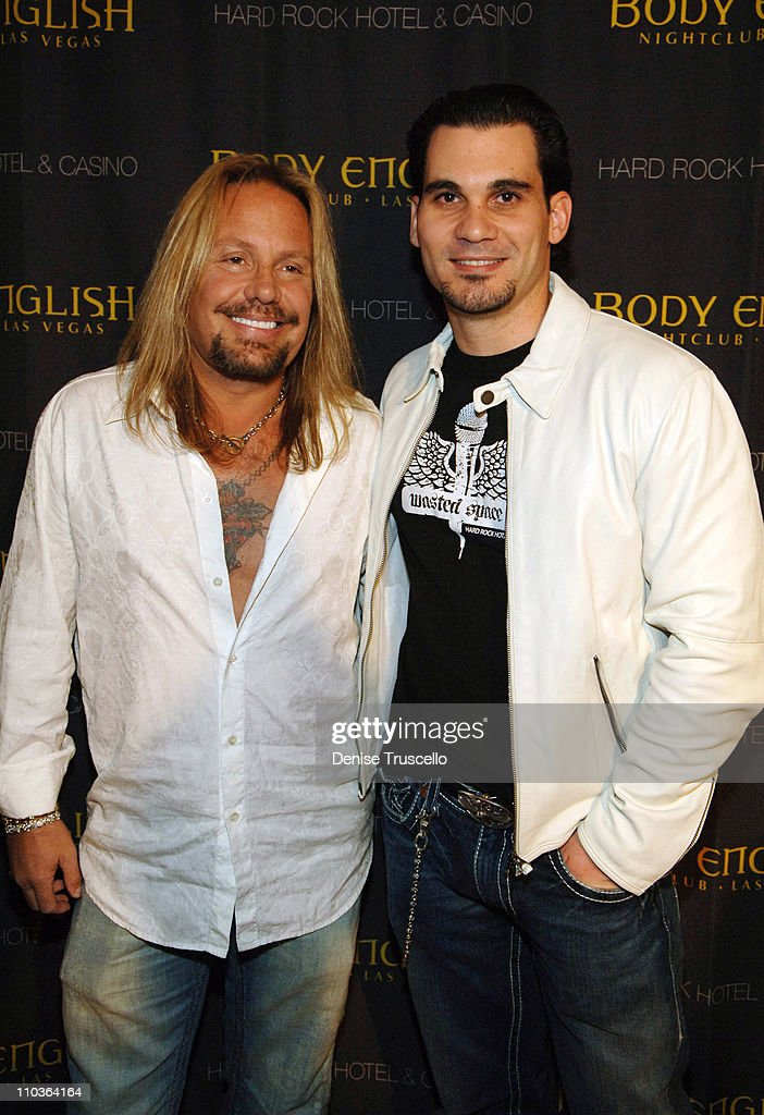 Singer <a gi-track='captionPersonalityLinkClicked' href=/galleries/search?phrase=Vince+Neil&family=editorial&specificpeople=239521 ng-click='$event.stopPropagation()'>Vince Neil</a> and Body English partner Cory McCormack arrive at their joint birthday party at Body Englsih Nightclub at The Hard Rock Hotel & Casino on February 10, 2008 in Las Vegas, Nevada.