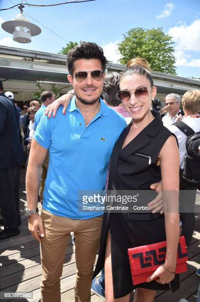 Singer Vincent Niclo and Dancer Silvia Notargiacomo attend the 2017 French Tennis Open Day Nine at Roland Garros on June 5 2017 in Paris France