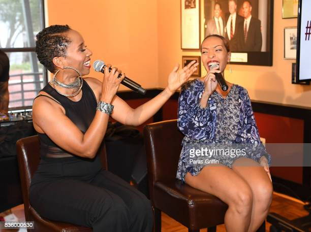 Singer Vivian Green and radio personality Maria More speak onstage at Upscale Magazine's Brunch Style featuring Vivian Green on August 20 2017 in...