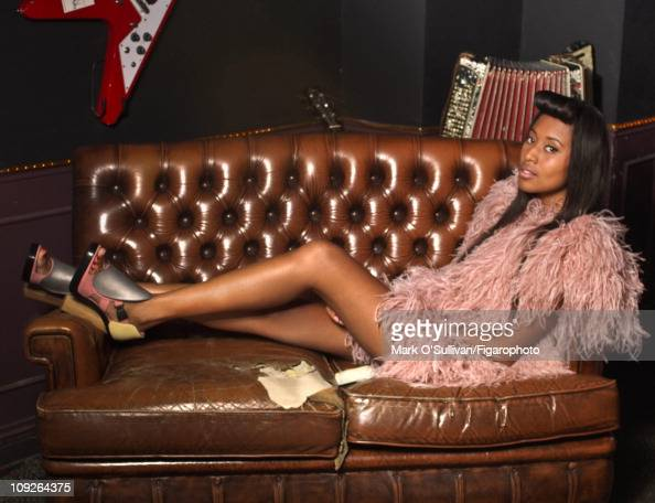 Singer VV Brown poses for Madame Figaro on June 18 2010 at the Chacha Club in Paris France Published image Figaro ID 097786006 Dress by Sonia Rykiel...