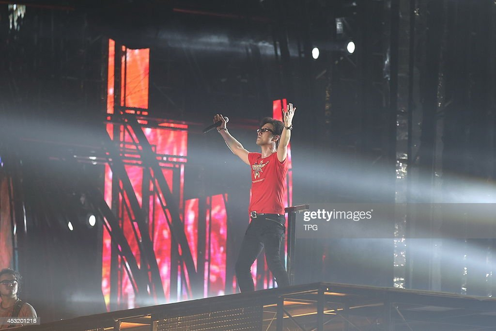 Singer Wang Feng holds concert at the National Stadium on Saturday August 22014 in BeijingChina