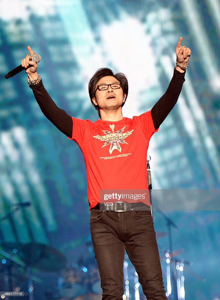 Singer Wang Feng performs on the stage during his live on December 6 2014 in Xiamen Fujian province of China