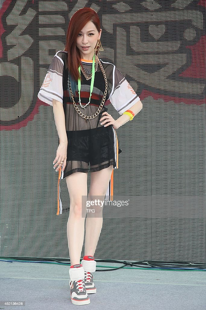 Singer Wang promotes online game on Sunday July 13,2014 in Taipei,China.