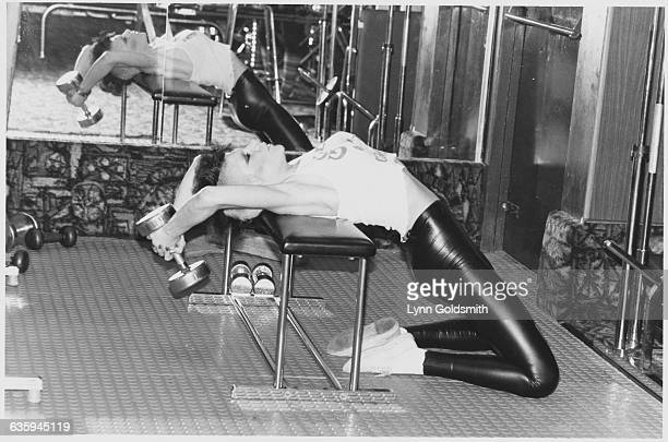 Singer Wendy O Williams Lifting Weights