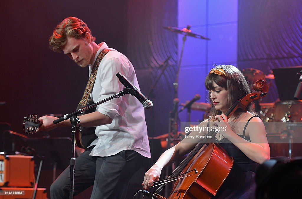 Singer Wesley Schultz (L) and cellist Neyla Pekarek of the Lumineers performs onstage at the 55th Annual GRAMMY Awards Pre-GRAMMY Gala and Salute to Industry Icons honoring L.A. Reid held at The Beverly Hilton on February 9, 2013 in Los Angeles, California.