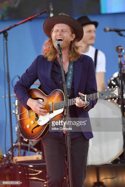 Singer Wesley Schultz of The Lumineers performs on ABC's 'Good Morning America' at Rumsey Playfield Central Park on June 16 2017 in New York City