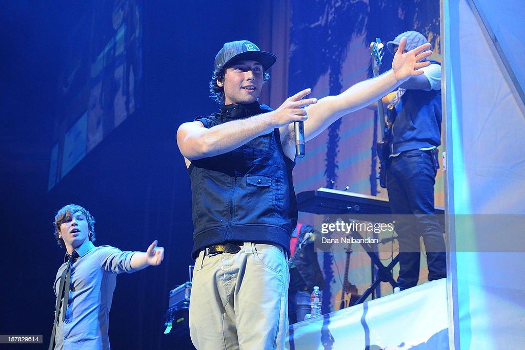 Singer Wesley Stromberg of Emblem3 performs at Key Arena on November 12, 2013 in Seattle, Washington.