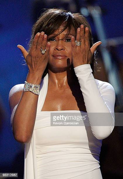 Singer Whitney Houston accepts the Winner of International Favorite Artist Award onstage at the 2009 American Music Awards at Nokia Theatre LA Live...