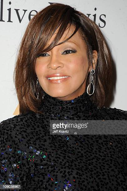 Singer Whitney Houston arrives at the 2011 PreGRAMMY Gala and Salute To Industry Icons Honoring David Geffen at Beverly Hilton on February 12 2011 in...