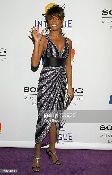 Singer Whitney Houston arrives at the Legendary Clive Davis PreGrammy Party held at the Beverly Hilton Hotel on February 9 2008 in Beverly Hills...