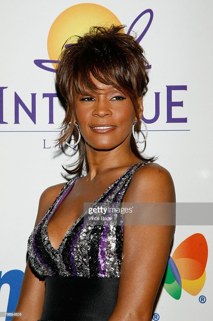 Singer <a gi-track='captionPersonalityLinkClicked' href=/galleries/search?phrase=Whitney+Houston&family=editorial&specificpeople=201541 ng-click='$event.stopPropagation()'>Whitney Houston</a> arrives at the Legendary Clive Davis Pre-Grammy Party held at the Beverly Hilton Hotel on February 9, 2008 in Beverly Hills, California.